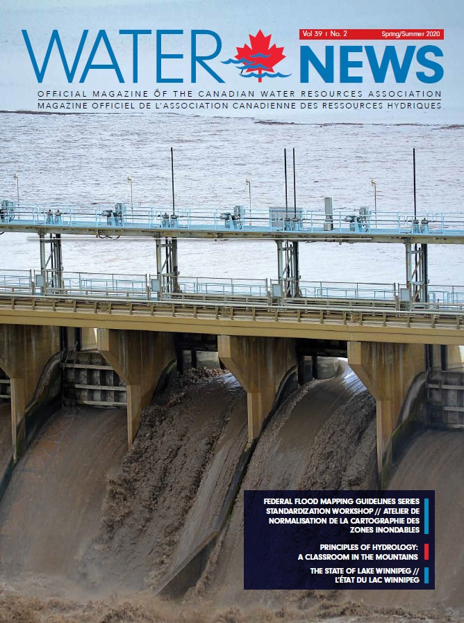 Cover of Water News May 2020 Edtion, with a photo of sedimented water flowing over a dam